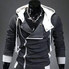 Sweat a capuche Hoodie Men Fashion Gilet sweater Outwear Gris foncé