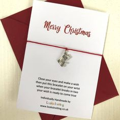Christmas Wish Bracelet - Merry Christmas. Christmas tree charm by LooksInviting on Etsy 21st Birthday Cards, Happy 21st Birthday, Birthday Wishes, All Gifts, Gifts For Mum, Little Gifts, Christmas Makes, Christmas Wishes, Merry Christmas