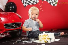 Formula one theme first cake smash automobile red car black and white race racing chequered ferrari boy birthday 1 one road