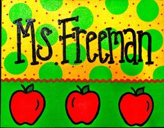 Teacher Door Sign Apples & Polka Dots by FancyDayDesigns on Etsy, $35.00
