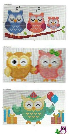 Brilliant Cross Stitch Embroidery Tips Ideas. Mesmerizing Cross Stitch Embroidery Tips Ideas. Cross Stitch Owl, Cross Stitch For Kids, Cross Stitch Animals, Cross Stitch Charts, Cross Stitch Designs, Cross Stitching, Cross Stitch Embroidery, Cross Stitch Patterns, Owl Patterns