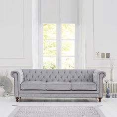 Mentor Fabric 3 Seater Sofa In Grey With Dark Ash Legs will add luxurious statement style to your living room Features: •Mentor Fabric 3 Seater Sofa In Grey With Dark Ash Legs •The fabric...
