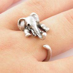 Silver Elephant Wrap Ring