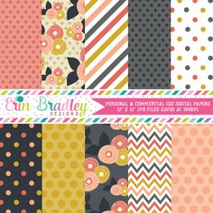 Mod Fall Digital Paper Pack – Erin Bradley/Ink Obsession Designs