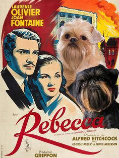 Brussels Griffon - Rebecca Movie Vintage Style Poster Canvas Print Brussels Griffon Fine Art Canvas Print full color Limited Edition numbered (1 to 500) and Signed by the artist in A3+ format (40 x 30 cm or 16 x 12 inch) in canvas. Poster looks best as a Gallery Wrap canvas so that it is ready to hang on the wall without framing.. All Artworks are my own art. All of our prints are produced on state-of-the-art, professional-grade Canon printers. We use GICLEE CANVASES with ARCHIVAL PIGMENT…