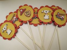 Lil' Firefighters cupcake toppers - set of 12 - KriskropMemories. $8.75, via Etsy.