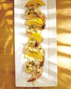 Shrimp Kebabs with Lemon Wedges and Cilantro Recipe
