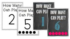 Active Play Math Center Signs!  How many can play?$