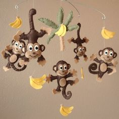 Monkey See Monkey Do Baby Mobile  Choice of Boy or by PinkPerch