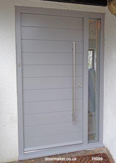Contemporary Front Doors, oak iroko and other woods, Bespoke Doors Gray Front Door Colors, Grey Front Doors, Exterior Door Colors, Exterior Doors, Halloween Front Door Decorations, Halloween Front Doors, Ral Colours Grey, Old Door Decor, Contemporary Front Doors