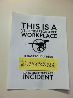 bahahaha velociraptor free workplace. office humor / office prank