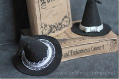 """Early this Halloween season, I was making some felt witch hats but was finding that without actually stuffing them, they weren't holding up very well and they looked kind of flimsy. Lucky for me, when I was walking through the Dollar Tree a few days later, I found some mini construction cones! Well, if those didn't scream """"WITCH HAT"""" to me! I grabbed a few and headed home to try round two of the witch hat [...]"""