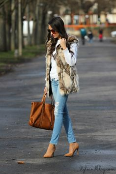 Faux Fur Vest With Ripped Jeans