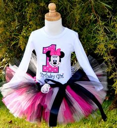 first birthday party ideas baby minnie mouse | Girl's Minnie Mouse Birthday Tutu Set - 1st Birthday Party Outfits