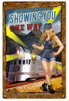 Nostalgic Railroad Pinup Girl Sign, Aged Style Aluminum Metal Sign, USA Made Vintage Style Retro Garage Art by HomeDecorGarageArt on Etsy Train Posters, Pin Up Posters, Railway Posters, Railroad Photography, Pin Up Photography, Photography Editing, Portrait Photography, Vintage Ads, Vintage Posters