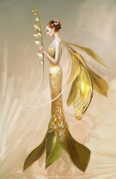 Beautiful golden fairy with lily of the valley flower.