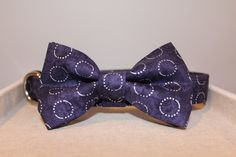 Navy & Silver Circle Print Dog Collar by SpoiledPawsBowtique on Etsy