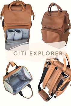 Designer diaper bag backpack. Innovative faux leather diaper bag that looks like a stunning backpack. The flap is removable for two designs! The Citi Explorer also makes a great diaper bag for Dad.