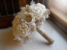 Will ship in 4 weeks ~~~ Rustic Shabby Chic Bouquet, Sola Flowers, Burlap, Lace, Rustic Shabby Chic Weddings.