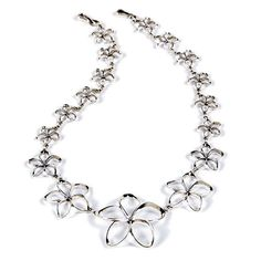Plumeria Pua Melia Necklace with Graduated Plumeria Flowers - Romantic Jewelry
