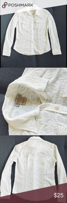 Lucky Brand embroidered button down blouse Lucky Brand top in excellent condition - size XS. Bright white fabric with no stains or yellowing. 100% cotton. Layer it with a colored tank for a bright, fresh look! Perfect for spring! Lucky Brand Tops Button Down Shirts
