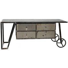 Mesa hierro con cajones y ruedas
