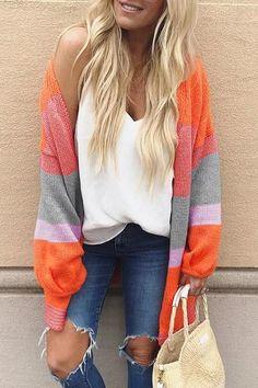 81a37c48dad0 Shyfull Chic Color-lump Orange Cardigan Sweaters Orange Cardigan