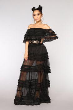 Reine Mesh Dress - Black