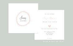 """Geboortekaartje, birth announcement, , lief, vintage, blaadjes, hartjes, pastel kleur, design by Huis van """"Mijn"""""""