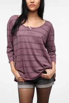 Truly Madly Deeply One-Button Henley Tee - Urban Outfitters