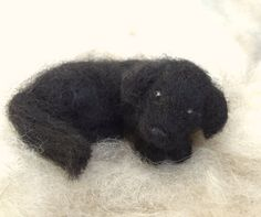Lab Puppy Black or Chocolate Dog, Needle Felted Curled Up Sleeping