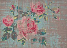 rug designed by Charlotte Lancelot. This wool rug is from the GAN range by Gandia Blasco and is based on a traditional rose cross stitch. Thick yarn woven through punched out felt.