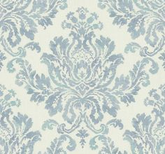House of Hampton Seiter L x W Flocked Wallpaper Roll Colour: Blue/Cream Flock Wallpaper, Cream Wallpaper, Art Deco Wallpaper, Botanical Wallpaper, Watercolor Wallpaper, Luxury Wallpaper, Designer Wallpaper, Vintage Style Wallpaper, Victorian Wallpaper