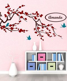Take a look at this Brown & Red Cherry Blossom Branch Personalized Wall Decal by DecorDesigns on #zulily today!