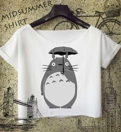 Transfer paper print idea  studio ghibli cropped tee inspired totoro shirt by midsummershirt, $16.00