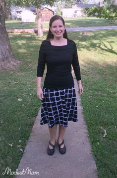 The Modest Mom - Black Skirt from Cato and Solid Black Shirt - Fall women fashion & modest monday link up