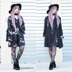 Get this look: http://lb.nu/look/8868017  More looks by Federica D: http://lb.nu/vanillasyndrome  Items in this look:  Romwe Black Large Hat, Romwe Flower Embroidery Longline Coat, Shein Layered Bell Sleeve Dress   #edgy #elegant #gothic