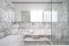 marble bathroom, soft grey & white marble doesn't overpower