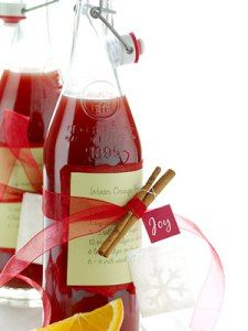 Homemade label with red ribbon