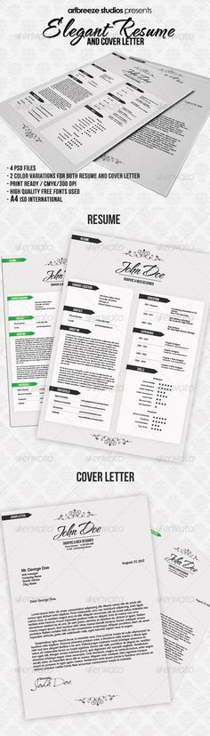 Elegant Resume and Cover Letter - Resumes Stationery