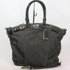 $308 : Coach Madison Op Art Jaquard Lindsey Satchel Handbag Bag Purse Tote 18645 Flint