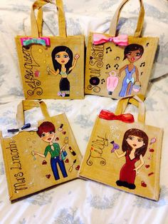 Mini jute bags designed and personalised especially for my ladies.