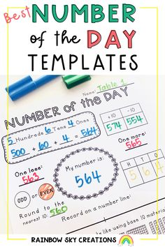 Includes 25 generic Number of the Day templates to engage students learning about how the number system works. Able to be used with any number up to 6-digits. Each template includes a range of appropriate number sense skills to help develop competent and confident mathematicians in your classroom. Fun Math Activities, Teaching Resources, Teaching Ideas, Student Learning, Teaching Math, Teaching Place Values, Professional Development For Teachers, Rainbow Sky, Primary Maths
