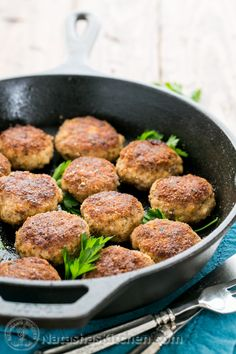 I present to you THE meatball of all meatballs. There's an oddity in the list of ingredients, but believe me when I tell you; these will be the talk of your dinner party. These meatballs are incredibly juicy and quite possibly the best ones. Pork Cutlet Recipes, Pork Tenderloin Recipes, Pork Recipes, Salad Recipes, Cooking Recipes, Skillet Recipes, Fun Recipes, Recipies, Pork Meatballs Recipe Easy
