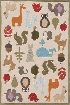 whimsical little animal rug! love the acorns too!