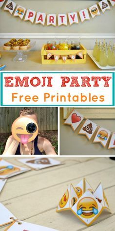Look no further for Emoji party ideas! This is a theme that is fun for all, and the emoji party package is perfect to use at your next celebration. Use our FREE printables and throw a low-cost emoji party of your own with the use of Emoji bunting, cootie catcher and camera lens buddy. They are the perfect answer to DIY birthday party preparation.