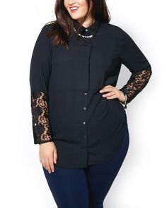 Buy new arrivals in plus size clothing. Penningtons offers the latest in plus size clothes. Trendy Plus Size Clothing, Plus Size Outfits, Size Blog, Size 14, High Neck Dress, Clothes For Women, Blouse, Lace, Long Sleeve
