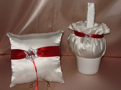 1 FLOWER GIRL BASKET AND 1 RING PILLOW WINTER  SNOWFLAKE TRIMS CUSTOM COLORS #Unbranded