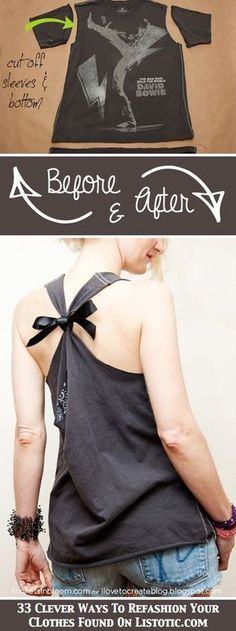 diy ropa 33 Clever Ways To Refashion Your Clothes - Diy Clothes Refashion, Diy Clothing, Sewing Clothes, Refashioned Clothes, Shirt Refashion, Shirt Makeover, Old T Shirts, Cut Shirts, Diy Kleidung