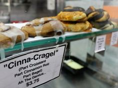 Cinna-Cragel-New-York Cronut, Brookies, Croissant, Cinnamon Rolls, Bagel, Doughnut, Sausage, Sandwiches, York